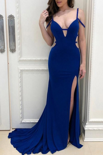 Sexy Royal Blue Mermaid Prom Dress with Beading