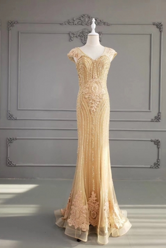 Beaded Champagne Mermaid Lace Dress with Cap Sleeves