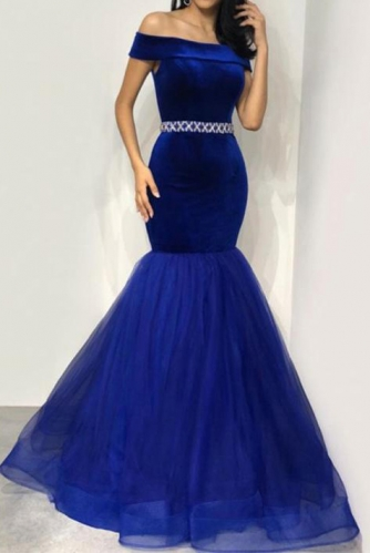 Off Shoulder Royal Blue Mermaid Velvet Prom Dress