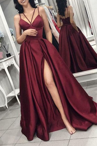 Sexy Sleeveless Burgundy Satin Prom Dress with Slit