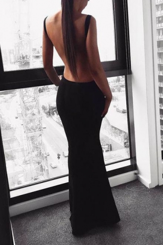 Sexy Backless Black Crepe Jersey Prom Dresses