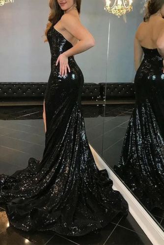 Strapless Fit and Flare Sparkle Black Sequin Fabric Dress