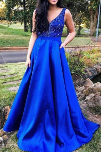 Royal Blue Mikado Dress with Beaded V Neck Top