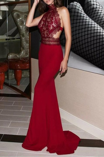 Dark Red Mermaid Prom Dress with Lace Top