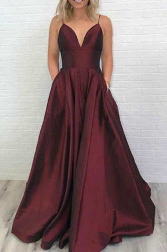 Long Sexy Burgundy Satin Prom Dress with Pockets