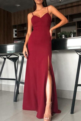 Red Backless Stretch Jersey Long Prom Dress