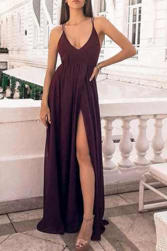 Sexy A Line Purple Chiffon Prom Dress with Slit