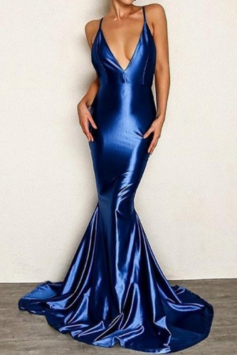 Sexy Low Back Royal Blue Mermaid Satin Prom Dress
