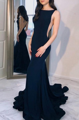 Long Low Back Navy Blue Mermaid Prom Dress