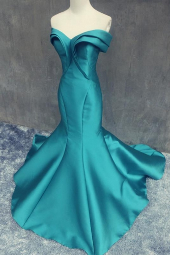 Teal Blue Sleeveless Mermaid Mikado Prom Dress