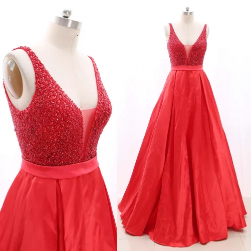A Line Fully Beaded Red Dress with Plunge V Neck
