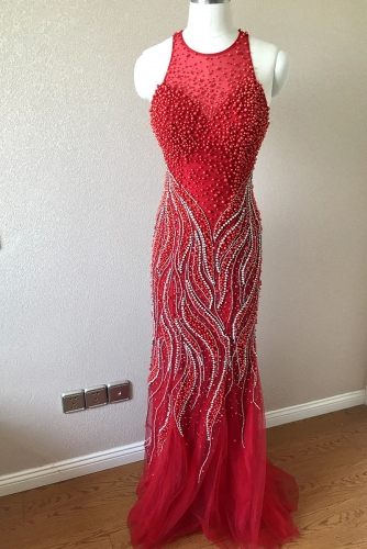 Fully Beaded Red Mermaid Dress with Illusion Neck