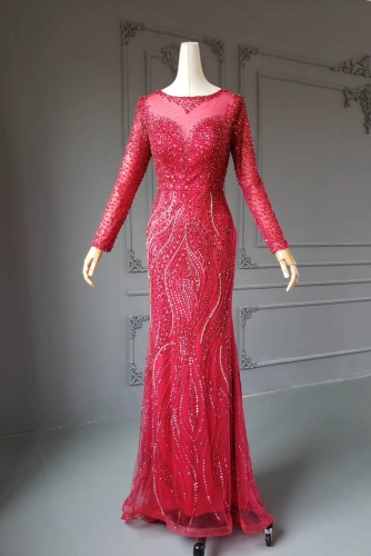Fully Beaded Red Mermaid Long Sleeves Prom Dress