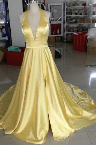 Bright Yellow Halter Neck Long Prom Dress with Train