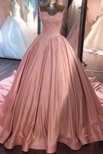 Dusty Pink Satin Ball Gown with Lace and Long Train