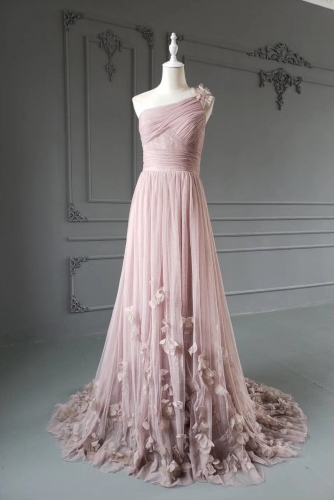 Blush Pink Pleated One Shoulder Prom Dress with Petals
