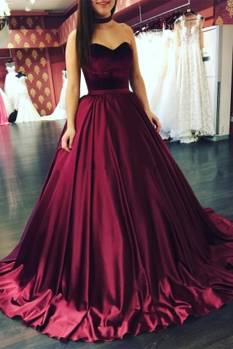 Wine Red Sleeveless Ball Gown Satin Prom Dress