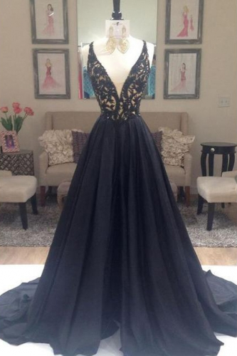 A Line Sexy Black Prom Dress with Beaded Bodice