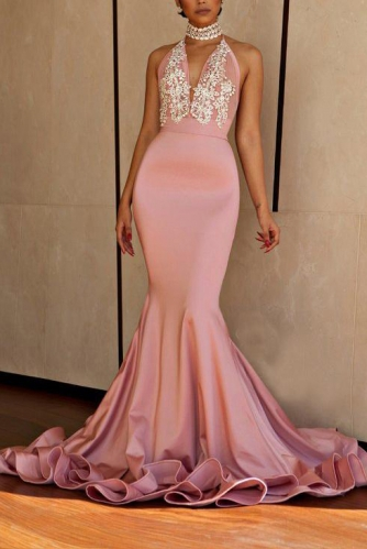 Blush Color Mermaid Prom Dress with Halter Lace Top
