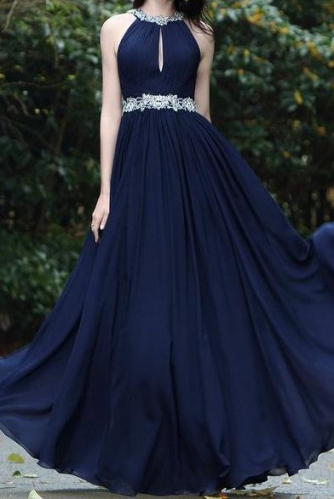 Halter Top Navy Blue Chiffon Prom Dress with Beading