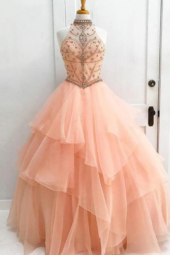 Peach Pink Keyhole Back Organza Dress with Beading