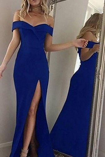Royal Blue Off Shouler Mermaid Prom Dress with Slit
