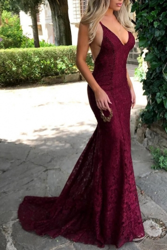 Sexy Burgundy Mermaid Backless Lace Prom Dress