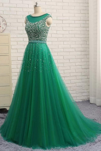 A Line Long Green Tulle Dress with Beaded Top