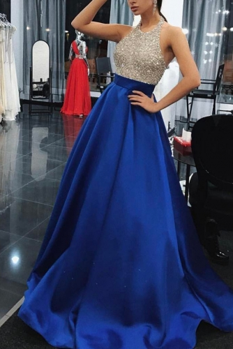 Royal Blue Long Prom Dress with Beaded Halter Top