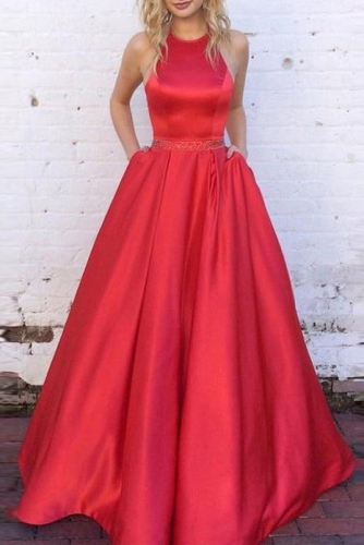 Red Mikado Ball Gown Prom Dress with Beaded Belt