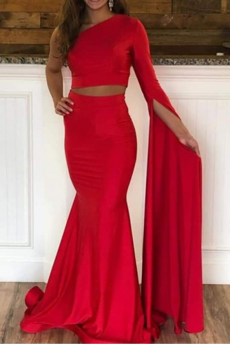 Red Mermaid Prom Dress with Long One Shoulder Sleeves