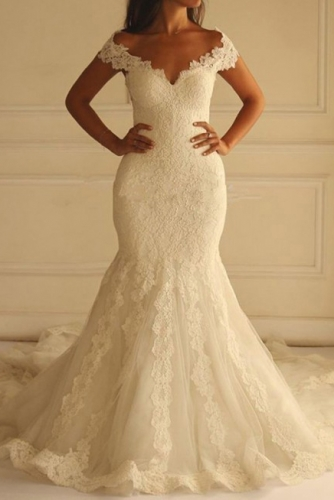 Ivory Off Shoulder Lace Mermaid Wedding Dress