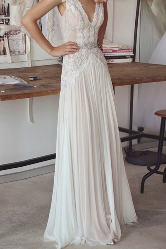 Sexy Chiffon Wedding Dress with Sheer Lace Top