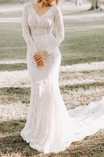 Sexy V Neck Long Sleeves Mermaid Lace Wedding Dress