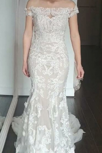 Sheer Back Mermaid Lace Wedding Dress with Sleeves