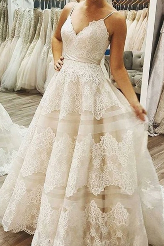 A Line Sleeveless Tiered Skirt Lace Wedding Dress