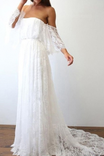 Ivory Boho Lace Beach Wedding Dress with Sleeves