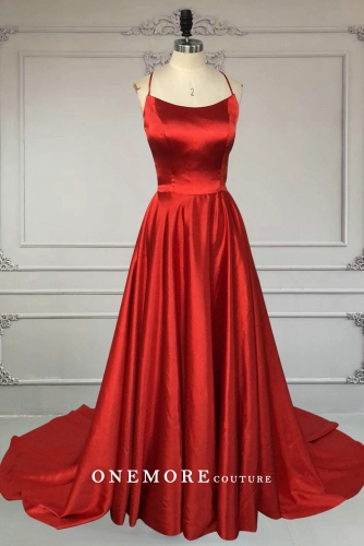 Sexy Backless Long Red Satin Prom Dress with Slit