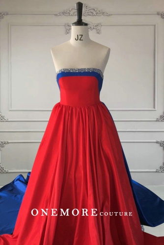 Red and Royal Blue Taffeta A Line Prom Dress