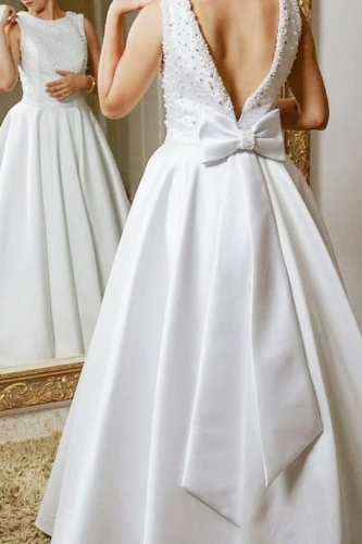 A Line Ivory Satin Beaded Jewel Neck Wedding Dress