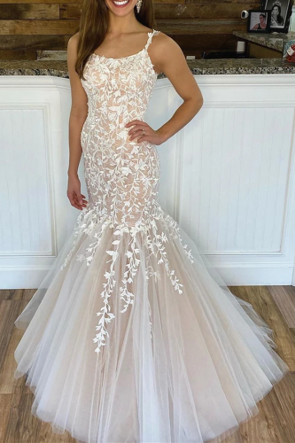 Sexy Champagne Mermaid Lace Wedding Dress