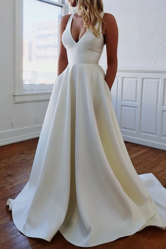 Simple Ivory Backless Silk Satin A Line Wedding Dress