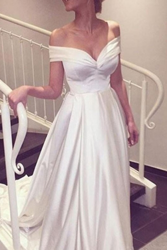 Simple Ivory A Line Satin Wedding Dress with Cap Sleeves