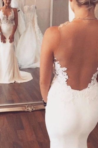 Fit and Flare Sexy Ivory Wedding Dress with Lace