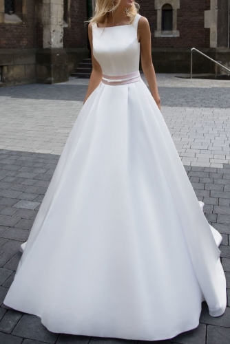 A Line White Mikado Wedding Dress with Low Back