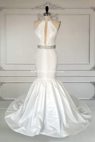 Elegant Mermaid Ivory High Neck Pageant Dress with Beading