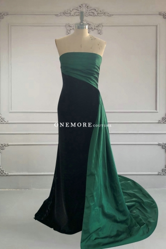 Mermaid Black Velvet Dress with Green Overskirt