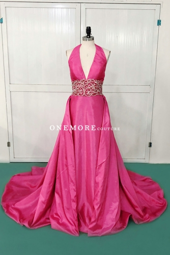 Hot Pink Halter Neck Beaded Dress with Overskirt