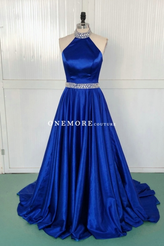 Royal Blue Halter Neck Satin Pageant Dress with Beading