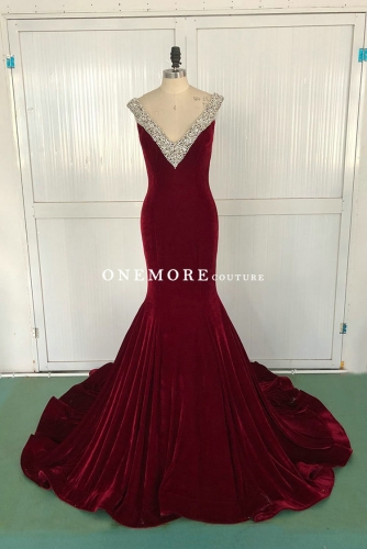 Sexy Burgundy Mermaid Velvet Dress with Beaded V Neck